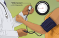Depiction of a hypotension (low blood pressure) patient getting her blood pressure checked.png