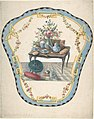 Design for a Firescreen with a Table with a Vase of Flowers, Books, and Teapot MET DP805591.jpg