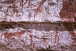 Detail of the mural showing the hind part of the aurochs, a deer and hunters..jpg