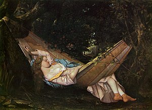 Siesta - A painting of a young woman taking a siesta. (The hammock, Gustave Courbet (1844).)