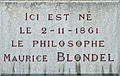 Dijon plaque commémorative Maurice BLONDEL.jpg