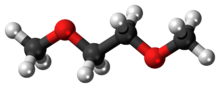 Ball-and-stick model of the dimethoxyethane molecule