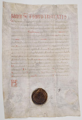 Adelaide of Maurienne - Diploma issued by Louis VI of France and Adelaide of Maurienne for the canons of the cathedral chapter of Paris (1127).
