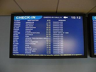 Air travel disruption after the 2010 Eyjafjallajökull eruption - Flight disruptions at Leeds Bradford International Airport during the eruptions.