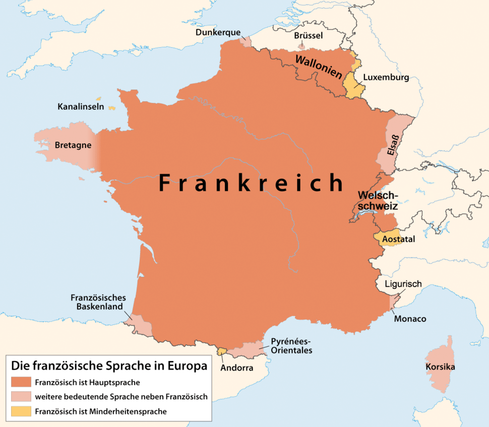 Distribution map of the French language in Europe