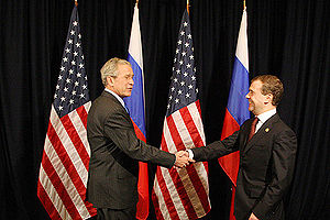APEC Peru 2008 - President of Russia Dmitry Medvedev meeting with President of the United States George W. Bush at the APEC Summit on 23 November