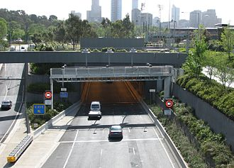 Domain Tunnel - The Domain Tunnel entrance adjacent to the Batman Avenue exit ramp