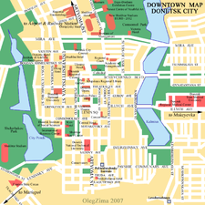 Map of Donetsk's city centre.