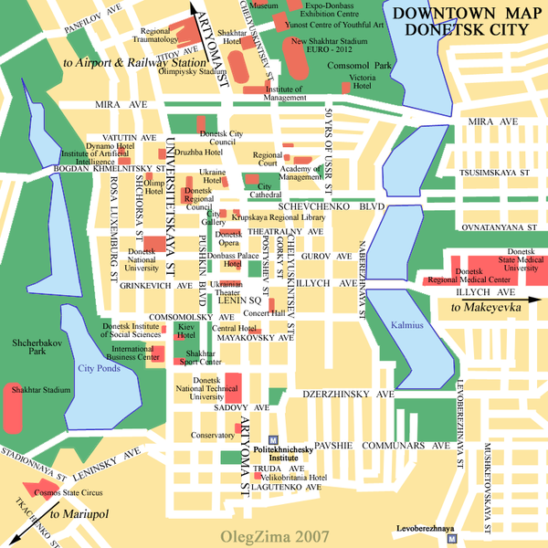 Карта центра Донецка (на