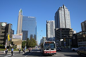 North York - Photograph of Yonge Street in downtown North York taken outside the Toronto Centre for the Arts and the Toronto District School Board Education Centre.
