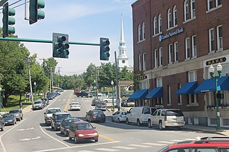 Ellsworth, Maine - Heavy traffic alongside the Camden National Bank downtown; Ellsworth is now the fastest growing city in the state of Maine.
