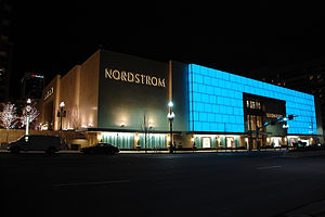 City Creek Center - Nordstrom, West Temple entrance facade at night, in downtown Salt Lake City, Utah.