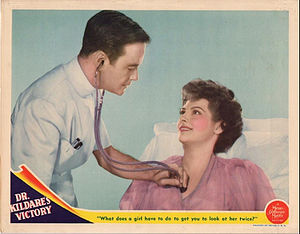 Ann Ayars - Lobby card for Dr. Kildare's Victory (1942) with Lew Ayres and Ann Ayars