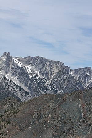 Dragontail Peak - Dragontail Peak (left center) and Stuart Range
