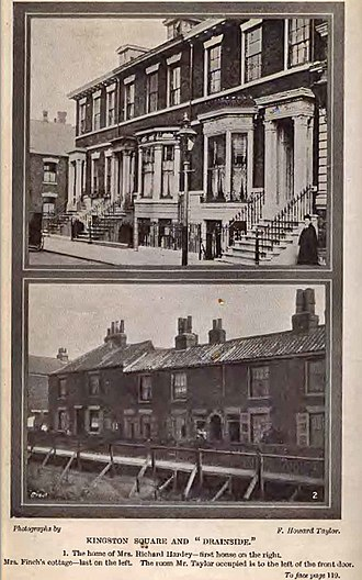 Hudson Taylor - Hudson Taylor worked at Dr. Hardey's, and lodged for a time at his brother's home Mr Richard Hardey, 16 Kingston Square, Hull (top) and then moved and lived in the near poverty of Drainside