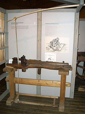 Bodging - Polelathe in a museum in Seiffen, Germany.