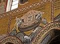 Duomo di Monreale, interno, mosaici con storie bibliche. Ciclo di Noè, finito il diluvio gli animali vengono liberati.Noè. - panoramio.jpg