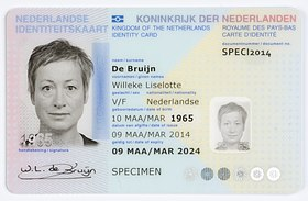 Dutch identity card front specimen issued 9 March 2014.jpg