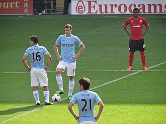 The Edin Dzeko and Sergio Aguero duo for Manchester City (2011-15) is a recent example of a striker partnership made up of a taller and more physically imposing player combined with a shorter and technically gifted partner. Dzeko kickoff.jpg