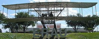 Volusia County, Florida - The life-sized Wright Flyer statue at the Embry-Riddle Aeronautical University Daytona Beach campus.