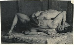 Wrestlers (Eakins) - H-229. Photograph of wrestlers, attributed to Eakins (possibly May 22, 1899)