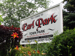 The entrance to the town park