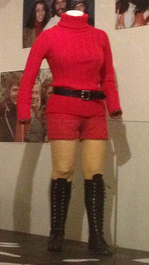 Hotpants - Red hotpants outfit with knee boots, Danish, early 1970s