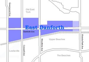 East Danforth - Image: East danforth map