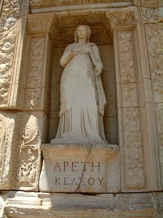 Library of Celsus - Arete, (personification of virtue) in the Celsus Library