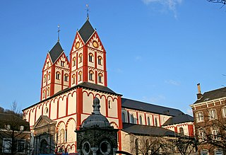 romanesque church from 11th and 12th century in the city of Liege, Belgium