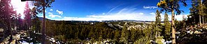 Eldora, Colorado - Panoramic view of the densely forested area of Eldora.