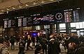 Electronic board (rail map and time table) with arrivals, departures and clock at Oslo Central Train Station, Norway (BaneNOR linjekart med ankomster, avganger og klokke i avgangshallen på Oslo Sentralstasjon) 2018-12-14.jpg