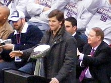 Manning with the Lombardi Trophy during the Giants Super Bowl victory rally at Giants Stadium in 2008.