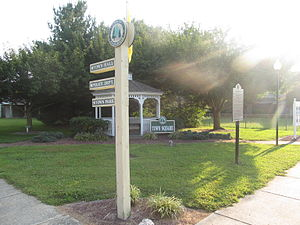 Ellendale, Delaware - The Ellendale Town Square where town notices are posted.