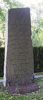 Gray granite tombstone.