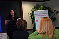 Emily Calloway, a youth coordinator at Fairchild Air Force Base, Wash., gives a presentation during advanced leadership training Dec. 8, 2011, at Headquarters Air Mobility Command (AMC), Scott Air Force Base 111208-F-OK556-227.jpg