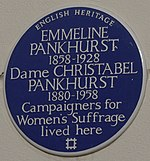 Emmeline Pankhurst 50 Clarendon Road blue plaque.jpg