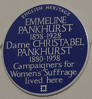 Christabel Pankhurst - Blue plaque, 50 Clarendon Road, London