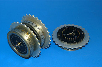 Clock (cryptography) - Enigma rotors. Turnover notch can be seen in left rotor near 13. Right rotor marking near center shows it is rotor II.