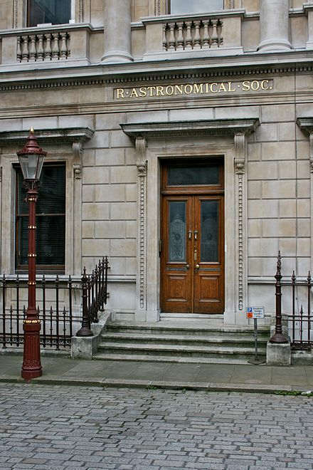 The entrance to the Royal Astronomical Society of which he was a Fellow