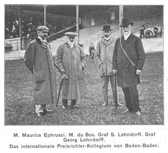 Maurice Ephrussi - Maurice Ephrussi (first from left) with M. du Bos, Siegfried Lehndorff and Georg von Lehndorff as members of a referee committee at a horse-racing track in Baden-Baden in 1902