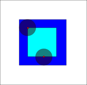 Mathematical morphology - The erosion of the dark-blue square by a disk, resulting in the light-blue square.