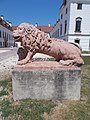 Esterházy mansion, lion statue, 2020 Pápa.jpg