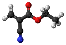 Ball-and-stick model of the ethyl cyanoacrylate molecule