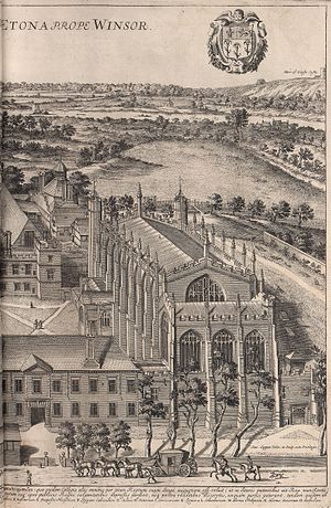 Public school (United Kingdom) - A bird's eye view of Eton College by David Loggan, published in his Cantabrigia Illustrata of 1690