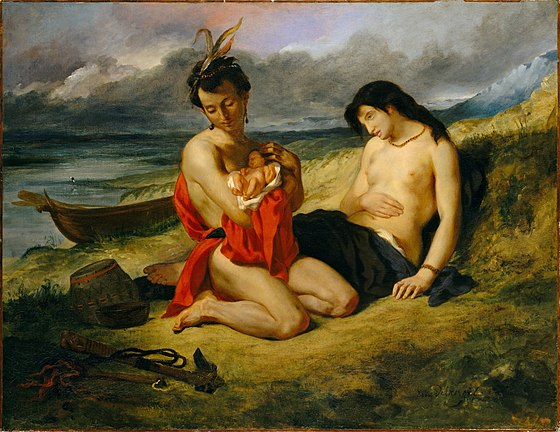 Eugene Delacroix, Les Natchez, Metropolitan Museum of Art, 1832-1835. The Natchez tribe were the fiercest opponents of the French in Louisiana. Eugene Delacroix - Les Natchez, 1835 (Metropolitan Museum of Art).jpg