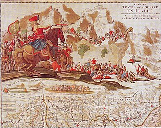 Prince Eugene of Savoy - Prince Eugene crossing the Alps, 1701. Coloured copperplate engraving.