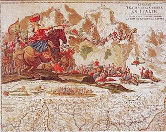 Battle of Carpi - Prince Eugene crossing the Alps.