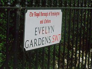Evelyn Gardens - Sign of Evelyn Gardens in London.