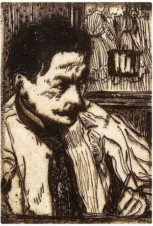 Henri Evenepoel - Self-portrait (engraving), 1899
